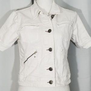 Cabi White Denim Topper Jacket Style #358 Small